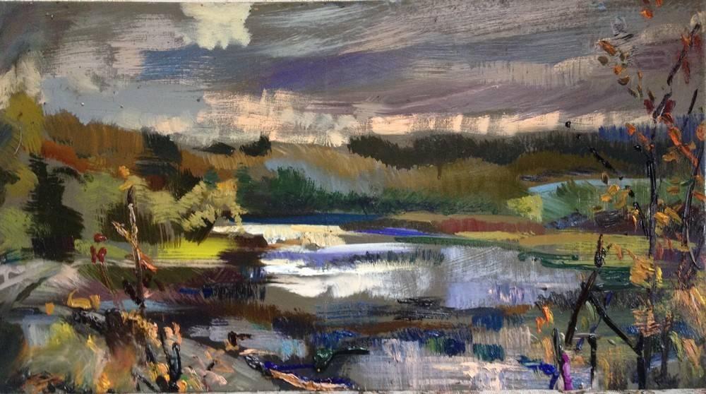 Ольга, Осень на плотине, 2014, холст, масло, 50х90