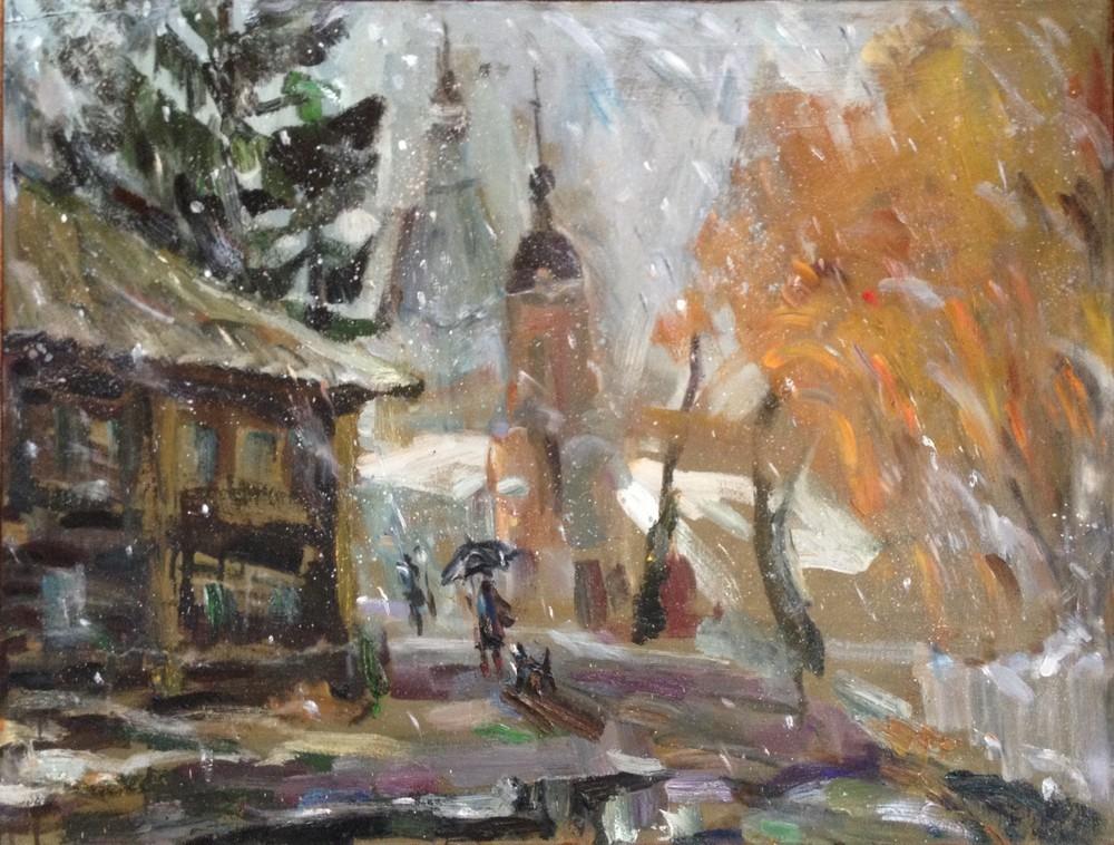 Ольга, Первый снег (Переславль), 2014 г., холст, масло, 65х85