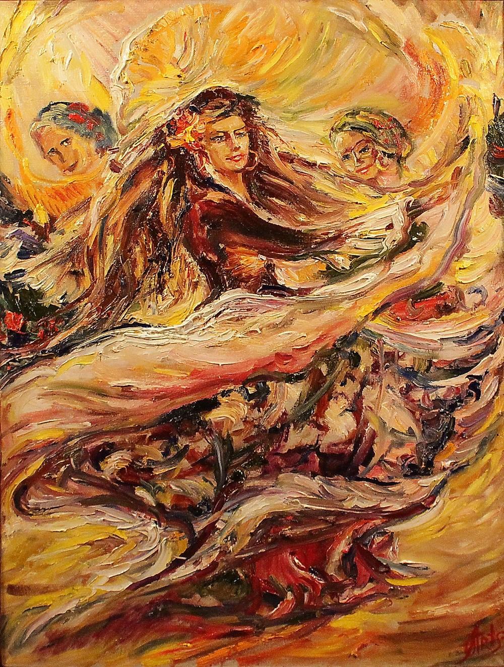 1 Огненный танец, 2011 г., холст, масло, 90х70